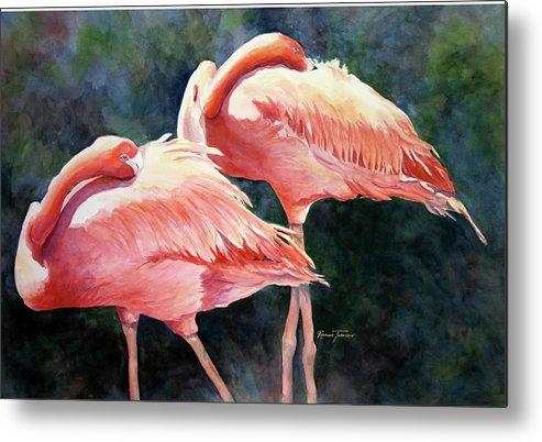 Flamingos Metal Print featuring the painting Who's Peek'n - Flamingos by Roxanne Tobaison