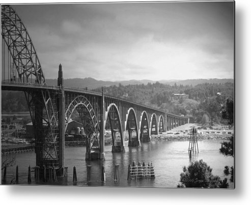 Yaquina Metal Print featuring the photograph Yaquina Bay Bridge Oregon B And W by Joyce Dickens