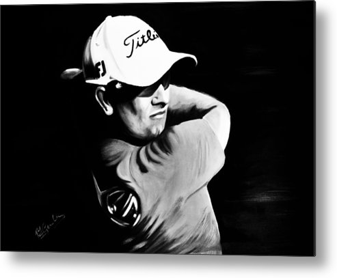 Adam Scott Sports Portrait Golf Metal Print featuring the painting Adam Scott by Richard Garnham