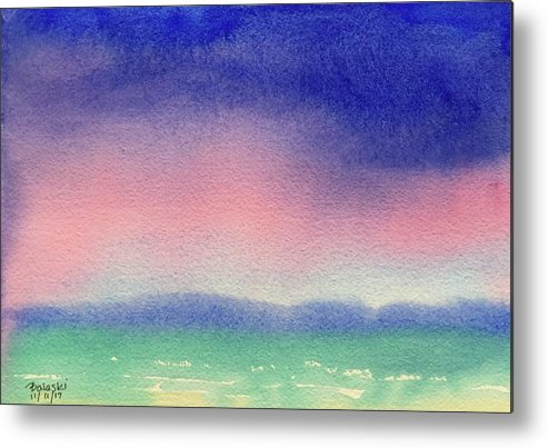 Watercolor Landscape Seascape Ocean Rain Clouds Puffy Full Saturated Deluge Pouring Mountains Distant Rough Ocean Waves Sea Caps Dense Wet Purples Pinks Blues Greens Metal Print featuring the painting Rain by Belinda Balaski