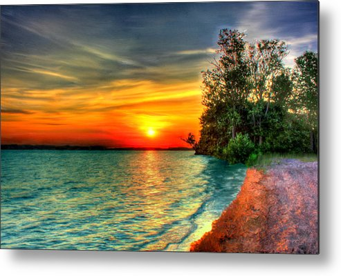 Bruce Metal Print featuring the painting Sunset On The Shore by Bruce Nutting