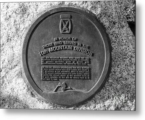 10th Mountain Division Plaque Mount Rainier National Park Washington Metal Print featuring the photograph 10th Mountain Division by David Lee Thompson