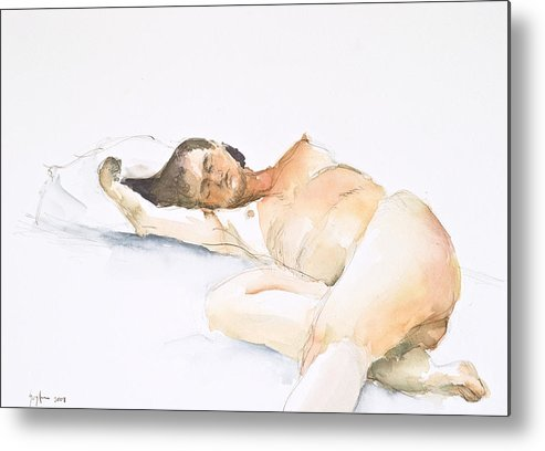 Sleeping Figure Metal Print featuring the painting Nude Series by Eugenia Picado