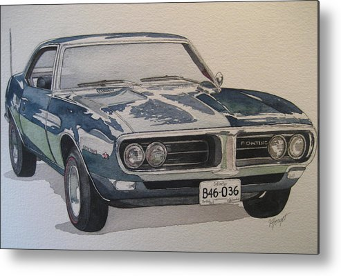 Muscle Car Metal Print featuring the painting 68 Firebird Sprint by Victoria Heryet
