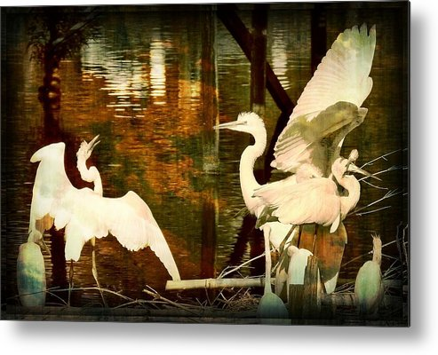 Bird Metal Print featuring the photograph 9 Egrets by Leslie Revels