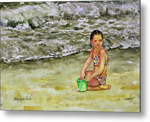 Sun Metal Print featuring the painting A Bucket Full Of Ocean by Shirley Sykes Bracken