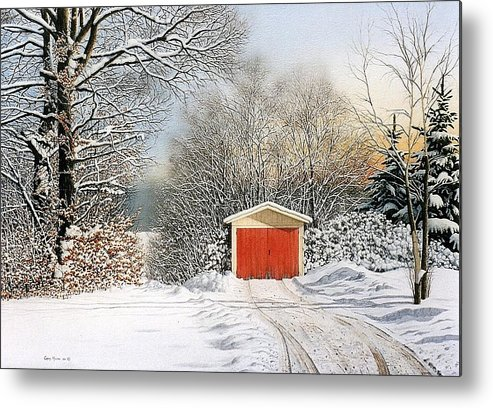 Scenic Metal Print featuring the painting A Day In December by Conrad Mieschke