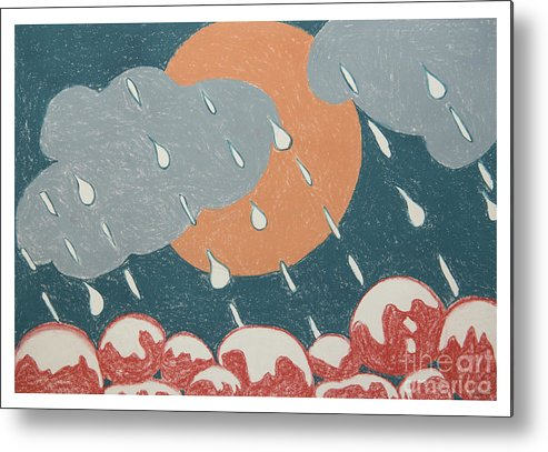 Seasons Metal Print featuring the drawing A Sunshine Rain - Shower by Rosie's Art