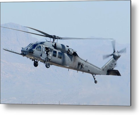 Helicopter Metal Print featuring the photograph Air Force Sikorsky Hh-60g Blackhawk 90-26228 Mesa Gateway Airport March 11 2011 by Brian Lockett