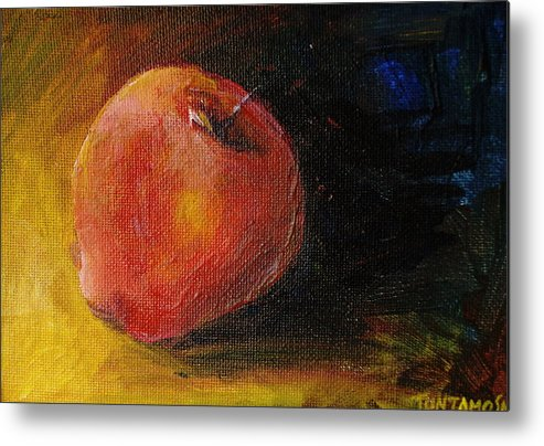 Apple Metal Print featuring the painting An Apple - A Solitude by Jun Jamosmos