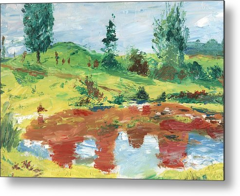 Landscape Metal Print featuring the painting An Upland Meadow by Horacio Prada