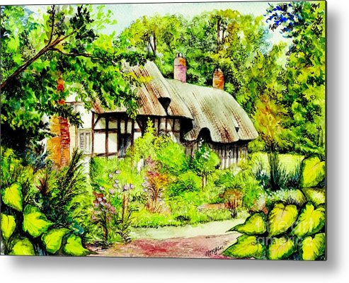Anne Metal Print featuring the painting Anne Hathaways Cottage by Morgan Fitzsimons