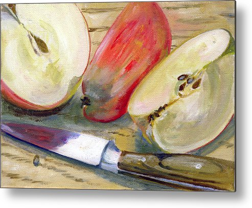 Still-life Metal Print featuring the painting Apple by Sarah Lynch