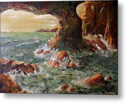 Sea Metal Print featuring the painting Approaching Storm by Gaile Griffin Peers