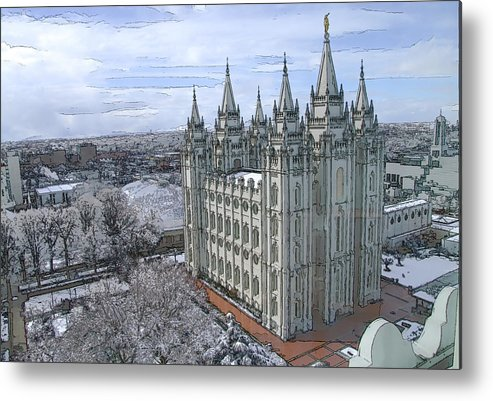 Mormon Metal Print featuring the digital art Artistic Rendering Of The Salt Lake City Lds Temple by Richard Coletti
