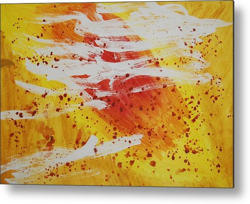 Abstract Metal Print featuring the painting Bailando En El Sol by Lauren Luna