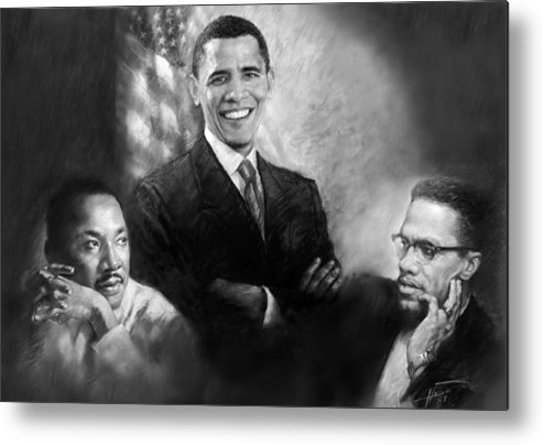 Barack Obama Metal Print featuring the pastel Barack Obama Martin Luther King Jr And Malcolm X by Ylli Haruni
