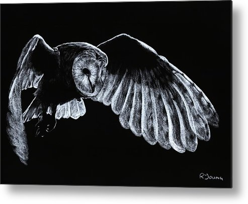Owl Metal Print featuring the pastel Barn Owl by Richard Young