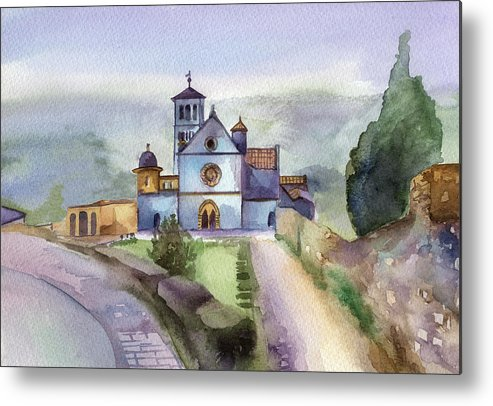 Watercolour Metal Print featuring the painting Basilica Of St Francis Assisi by Lydia Irving