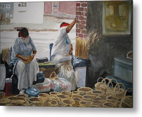 Market Street Metal Print featuring the painting Basketweavers by Shirley Braithwaite Hunt