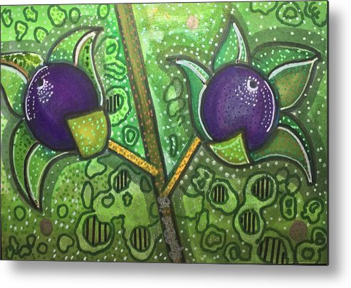 Deadly Nightshade Metal Print featuring the mixed media Bella Donna by Regina Jeffers