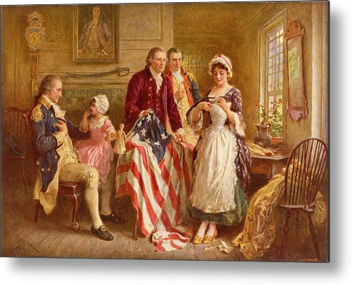 Betsy Ross Metal Print featuring the painting Betsy Ross 1777 by Jean Leon Gerome Ferris