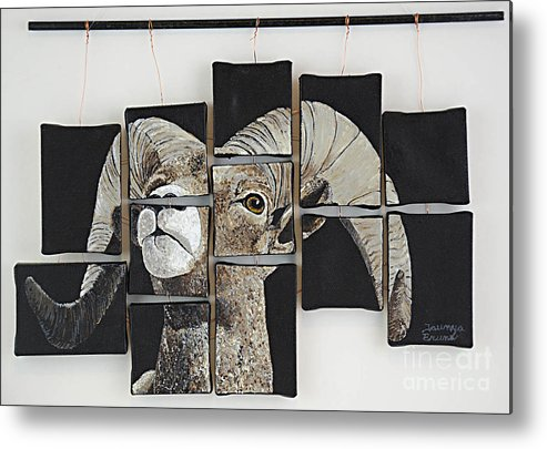 Wildlife Metal Print featuring the painting Big Horn Fragments by Taunya Bruns