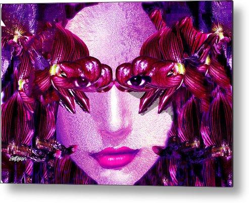 Oriental Metal Print featuring the digital art Black Orchid Eyes by Seth Weaver