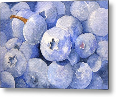 Fruit Metal Print featuring the painting Blueberries by Dorothy Nalls