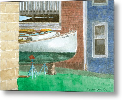 Boat Metal Print featuring the painting Boat Out Of Water - Portland Maine by Dominic White