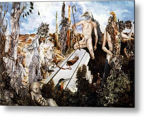 Surrealism Metal Print featuring the painting Bogomils Court by Otto Rapp
