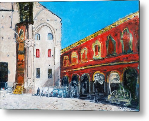 Cityscape Square Church Gallery White Red Blue Sky Metal Print featuring the painting Bologna Plaza by Joan De Bot