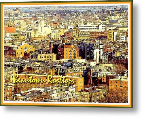 American Infrastructure Metal Print featuring the digital art Boston Beantown Rooftops Digital Art by A Gurmankin