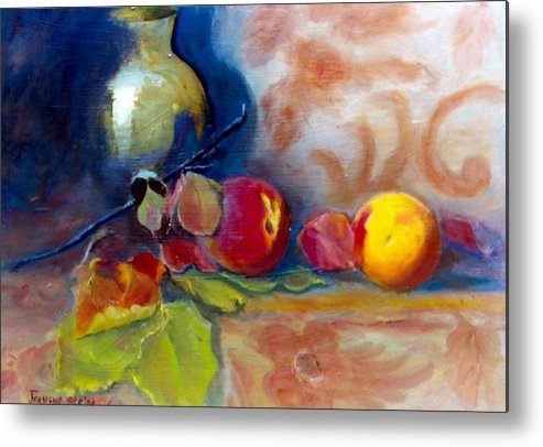 Still Life.brass Metal Print featuring the painting Brass And Peaches by Jeanene Stein