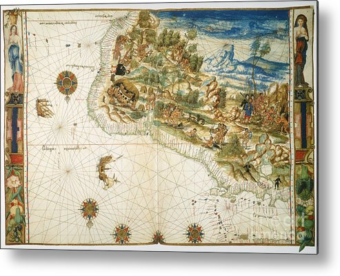 1547 Metal Print featuring the photograph Brazil: Map And Native Indians by Granger