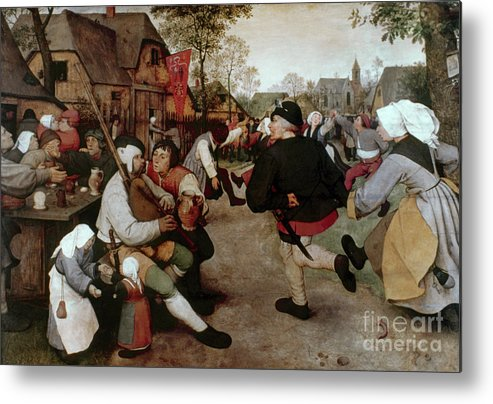 1567 Metal Print featuring the painting Bruegel, Peasant Dance by Granger