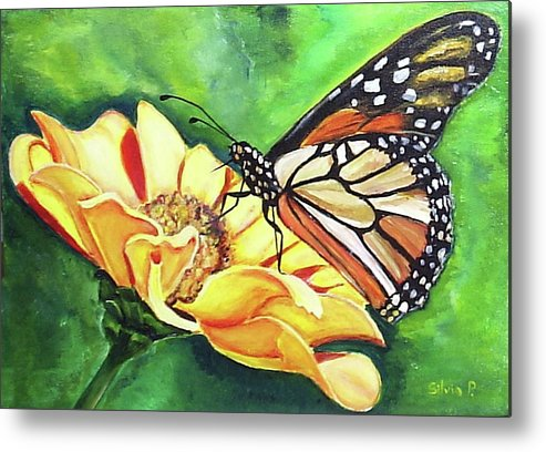 Daisy Metal Print featuring the painting Butterfly On Yellow Daisy by Silvia Philippsohn