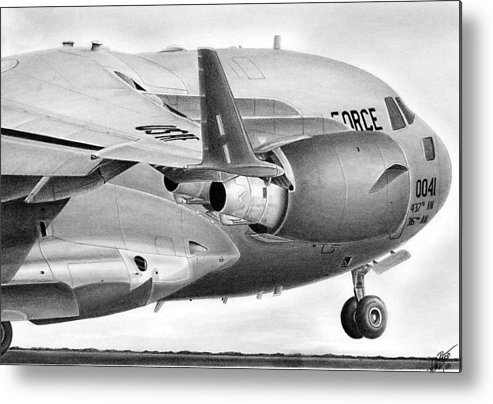 Aviation Art Metal Print featuring the drawing C-17 by Lyle Brown