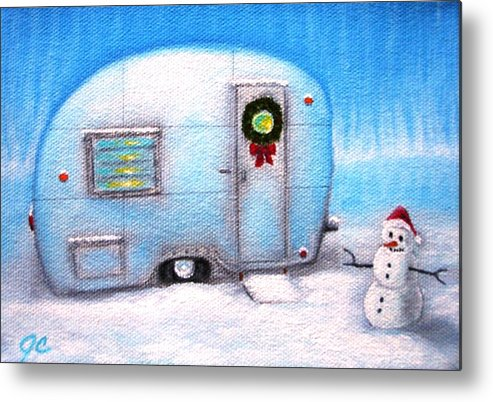 Christmas Airstream Camping Trailer Snow Snowman Metal Print featuring the painting Camping Christmas by Jimmy Carender