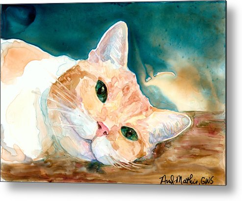 Feline Metal Print featuring the painting Can We Play Now Please by Andy Mathis