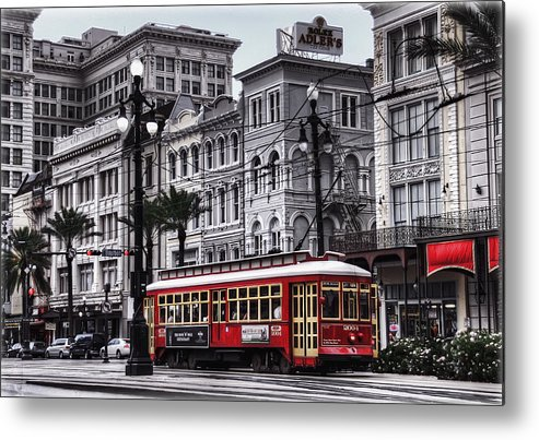 Nola Metal Print featuring the photograph Canal Street Trolley by Tammy Wetzel