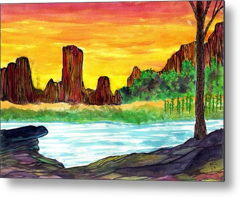 Canyon Metal Print featuring the painting Canyon Of The Mist by Doug Hiser