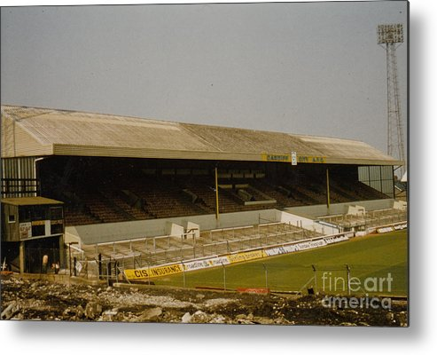 Cardiff City Metal Print featuring the photograph Cardiff - Ninian Park - West Stand 3 - 1969 by Legendary Football Grounds