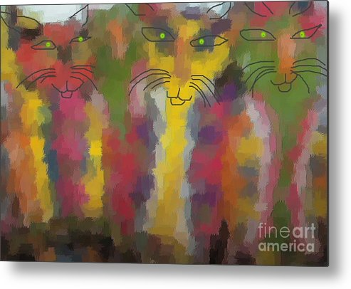 Cat Portraits Metal Print featuring the painting Cats by Don Phillips