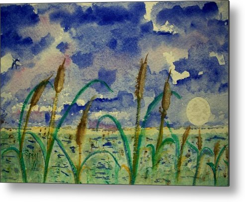 Watercolor Metal Print featuring the painting Cattails And Moonlight by Spencer Joyner