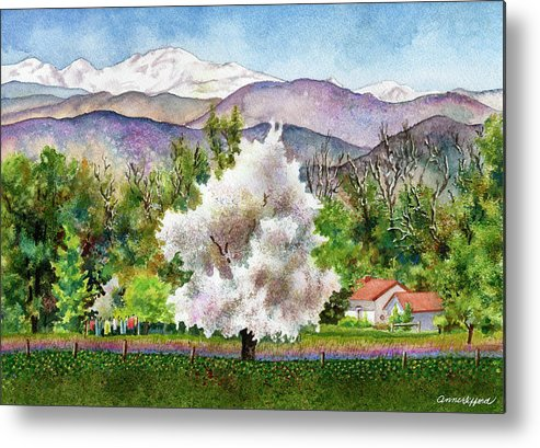 Blossoming Tree Painting Metal Print featuring the painting Celeste's Farm by Anne Gifford