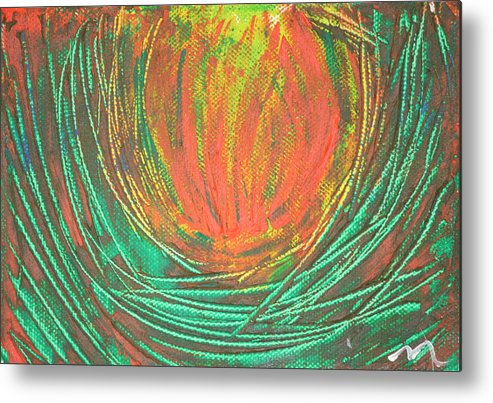 Fine Paintings Metal Print featuring the painting Chakra Protea by Malik Jaffer