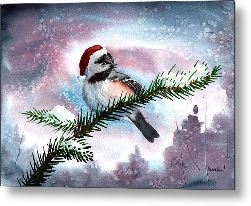 Birds Metal Print featuring the painting Christmas Chic by Sean Seal