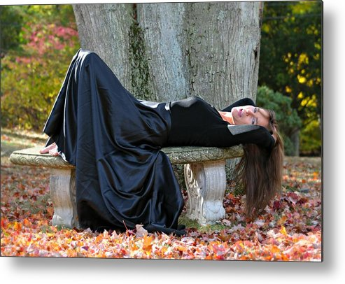 Portrait Metal Print featuring the photograph Cindy In Leaves by Diana Angstadt