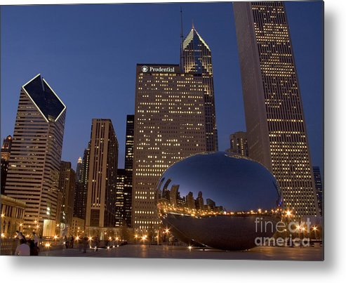 Cloud Gate Metal Print featuring the photograph Cloud Gate At Night by Timothy Johnson